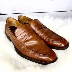 Bruno Magli Arco Brown Leather Penny Loafers